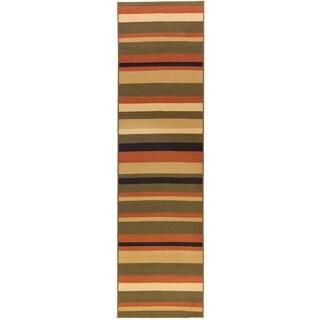 Nylon Green Stripe Area Rug (2' x 6'10)