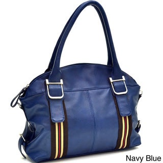 Dasein's Designer Inspired Striped Accent Shoulder Bag