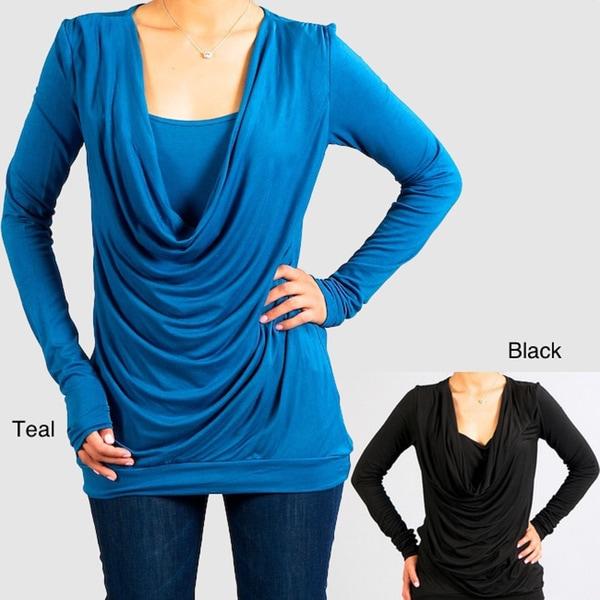 Think Knit Women's Cowl Neck Long-sleeve Shirt