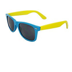 Unisex Blue and Yellow Color-block Sunglasses