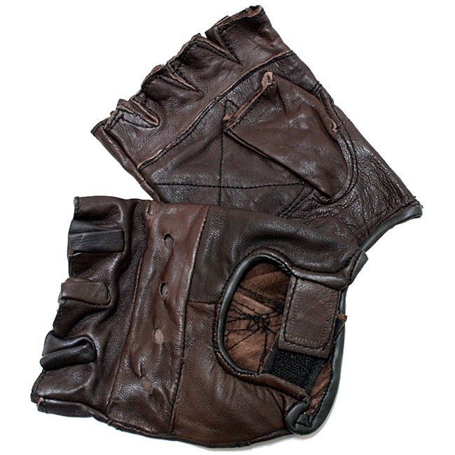 Defender Brown Extra-large Leather Fingerless Gloves with Velcro Strap