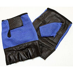 Defender Blue Medium Leather Fingerless Gloves