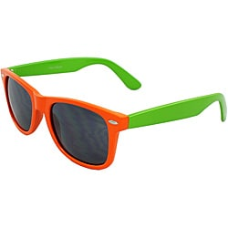 Unisex Green and Orange Color-block Sunglasses