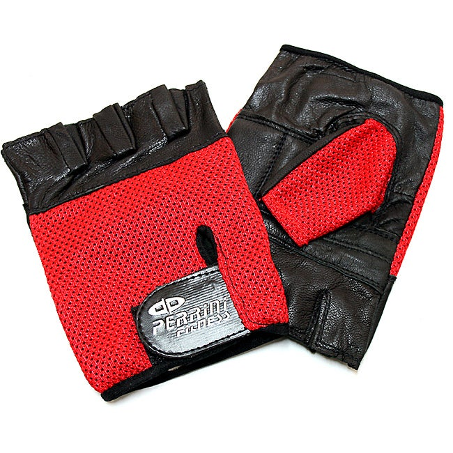 Defender Red Large Leather Fingerless Gloves