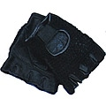 Defender Black Large Leather Fingerless Gloves with Velcro Strap