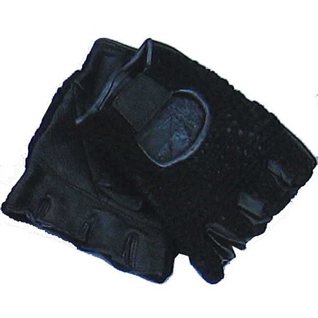 Defender Black X-Large Leather Fingerless Gloves
