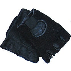 Defender Black X-Large Leather Fingerless Gloves