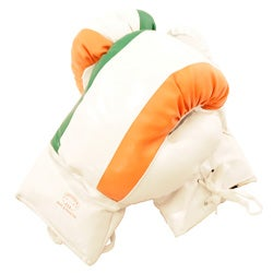 Defender 16-ounce White Boxing Gloves with Irish Flag Pattern
