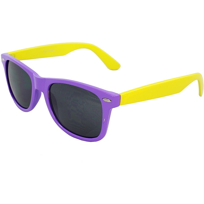 Unisex Purple and Yellow Color-block Sunglasses
