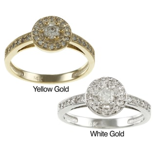 Auriya 14k Gold 2/5ct TDW Diamond Halo Engagement Ring (G-H, I1-I2)