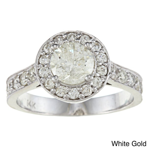 Auriya 14k Gold 1 3/4ct TDW Diamond Halo Engagement Ring (J-K, I1-I2)