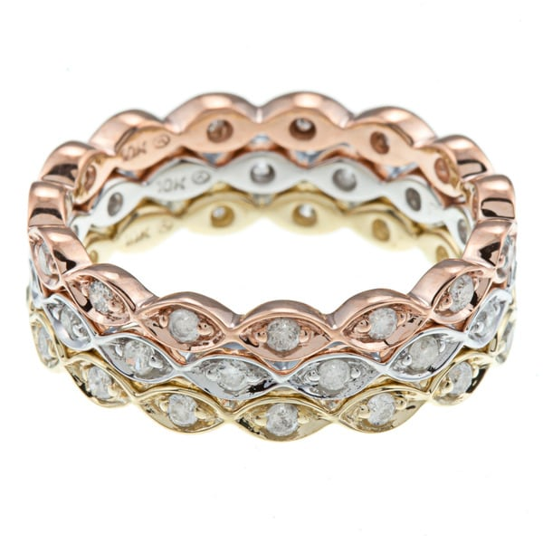 Charm-10k-Gold-3-5ct-TDW-Diamond-Stackable-Eternity-Band-Ring-Set-of-3 ...