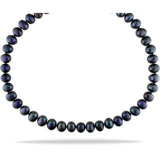 Miadora Black 9-10mm Cultured Freshwater Pearl Necklace (18-24 inches)