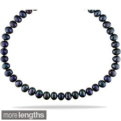 Miadora Black 9-10mm Freshwater Pearl Necklace (18-24 inches)