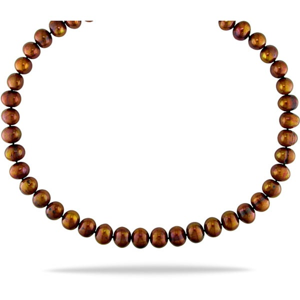 Miadora Chocolate 9-10mm Cultured Freshwater Pearl Necklace (18-24 inches)