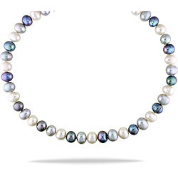 Miadora Black, Grey and White Freshwater Pearl 18-inch Necklace (9-10 mm)