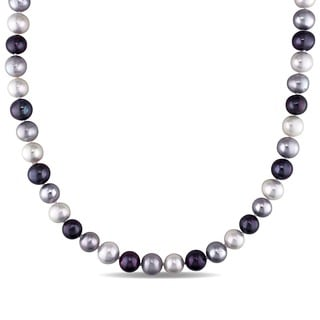 M by Miadora Black, Grey and White Cultured Freshwater Pearl 18-inch Necklace (9-10 mm)