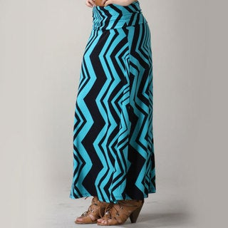 Tabeez Women's Fold Over Zig Zag Maxi Skirt