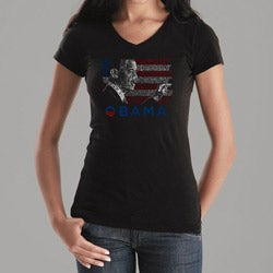 Los Angeles Pop Art Women's Barack Obama V-Neck Tee