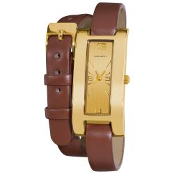 Vernier Women's Gold Tone V111-05 Brown Double Wrap Watch
