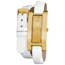 Vernier Women's Gold Tone V111-05 White Double Wrap Watch