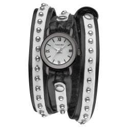 Vernier Women's Gun Metal Triple Wrap Black/ White Watch