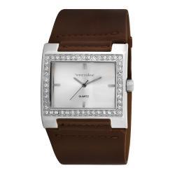 Vernier Women's V111-03 Silver Tone Crystal Stone Bezel Watch