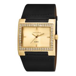 Vernier Women's V111-03 Gold Tone Crystal Stone Bezel Watch