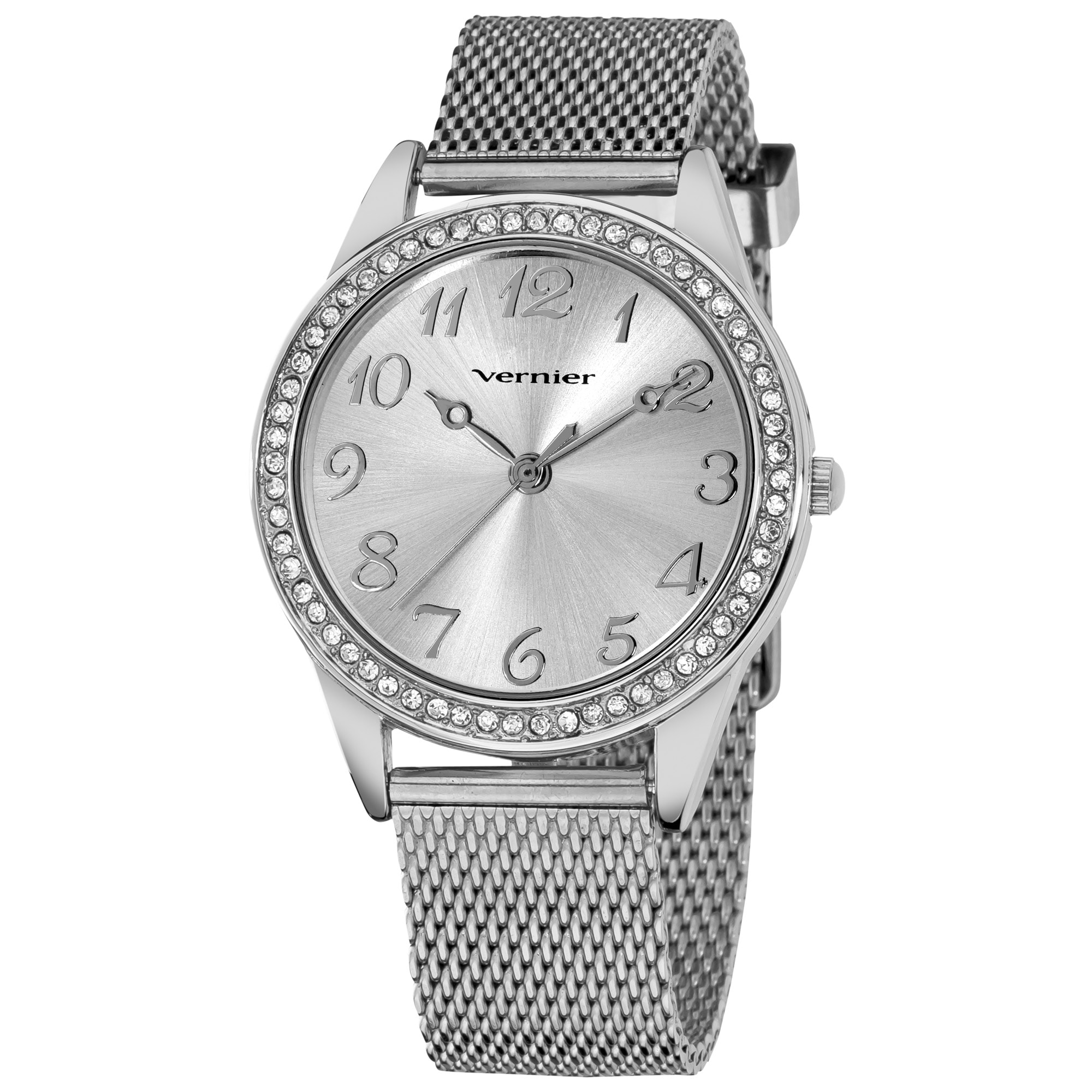 Vernier Women's Silver Tone Crystal Stone Bezel Mesh Strap Watch