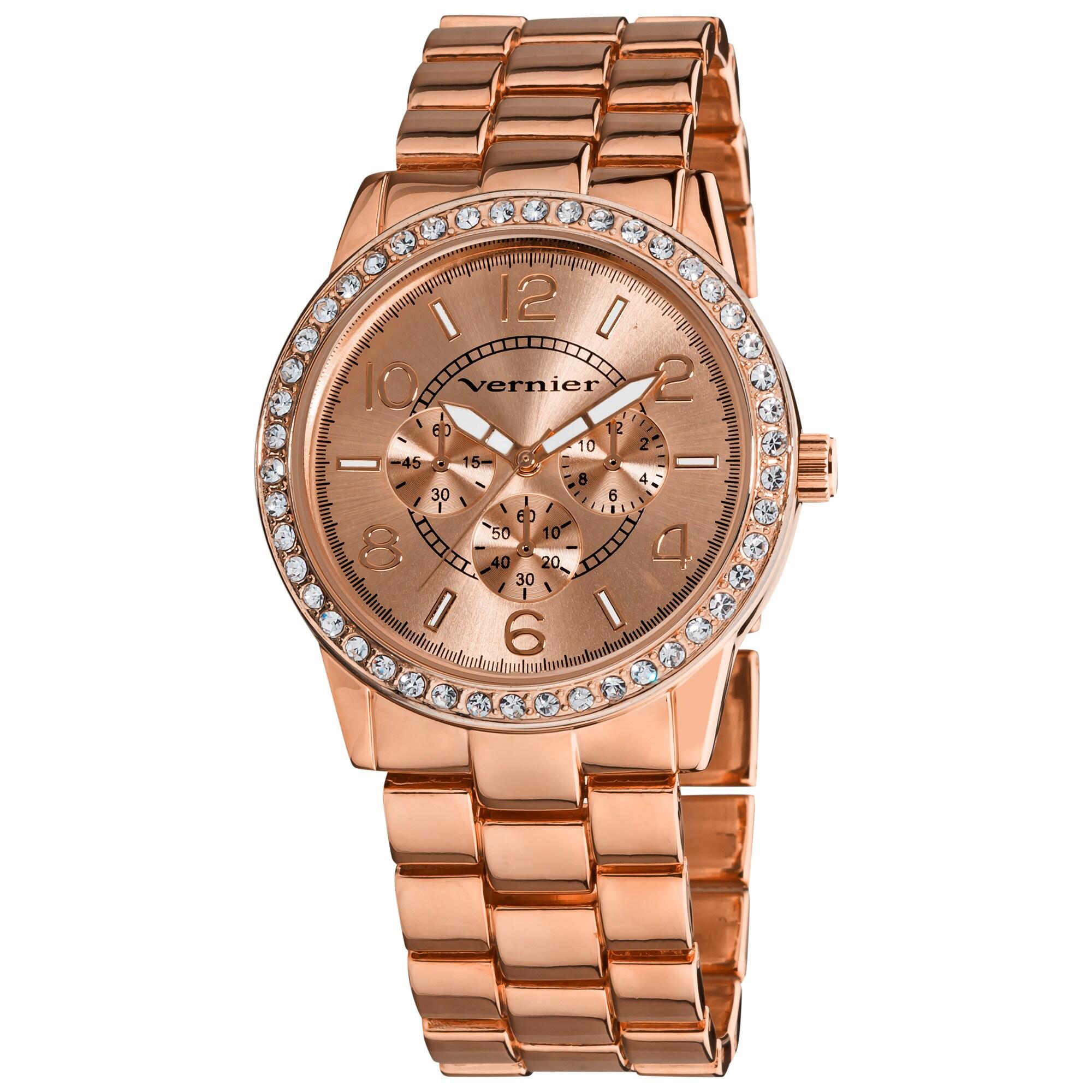 Vernier Women's Rose Tone Boyfriend Size Faux Chrono Crystal Stone Watch