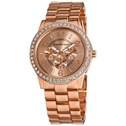 Vernier Women's Rose Tone Boyfriend Size Faux Chrono Crystal Stone Watch