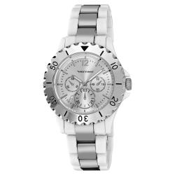 Vernier Women's White Resin Silver Tone Faux Chrono Bracelet Watch