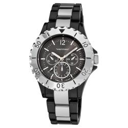 Vernier Women's Black/ Silver Tone Faux Chrono Bracelet Watch