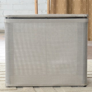 Basketweave Silver Bench Hamper 1530