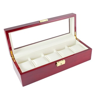 Caddy Bay Collection Rosewood Finish Five-Watch Glass-top Leatherette-lined Display Case