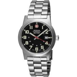 Wenger Men's Classic Field Black Dial Stainless Steel Bracelet Watch
