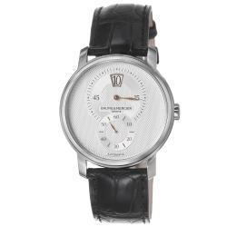 Baume & Mercier Men's M0A10039 'Classima' Silver Dial Black Leather Strap Watch