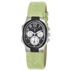 Philip Stein Women's 22TB-FB-SMLG 'Signature' Black Dial Green Leather Strap Watch