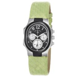 Philip Stein Women's 'Signature' Black Dial Green Leather Strap Watch