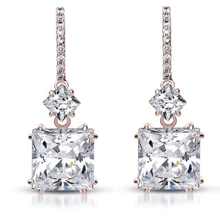 Collette Z Sterling Silver Cubic Zirconia Square Drop Earrings