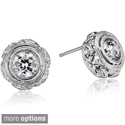 Collette Z Sterling Silver Clear Cubic Zirconia Filigree Earrings