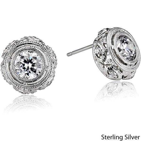 Collette Z Sterling Silver Clear Cubic Zirconia Filigree Earrings