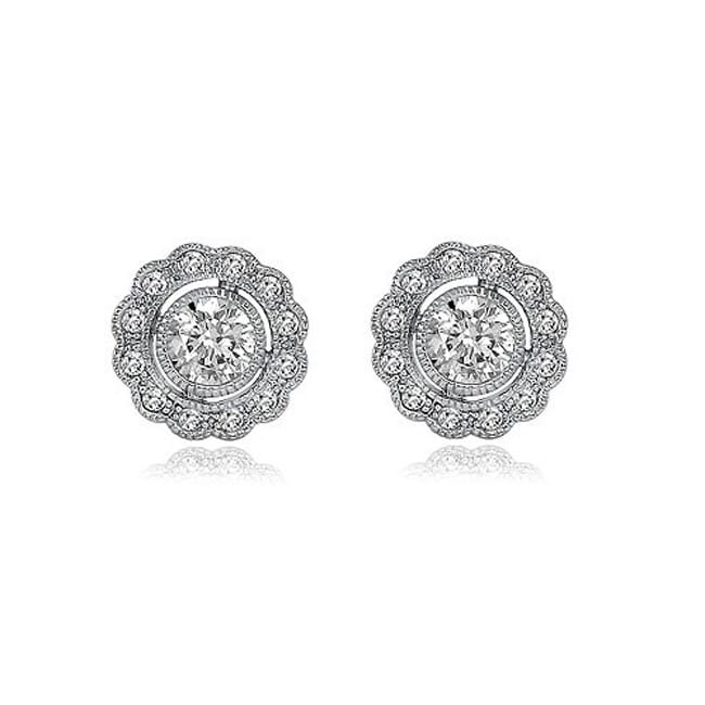 Collette Z Sterling Silver Cubic Zirconia Round Flower Stud Earrings at Sears.com