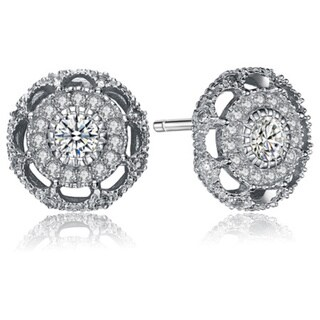 Collette Z Sterling Silver Cubic Zirconia Round Art Deco Earrings ...