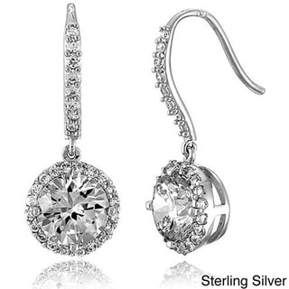 Collette Z Sterling Silver Round-cut Cubic Zirconia Dangle Hook Earrings
