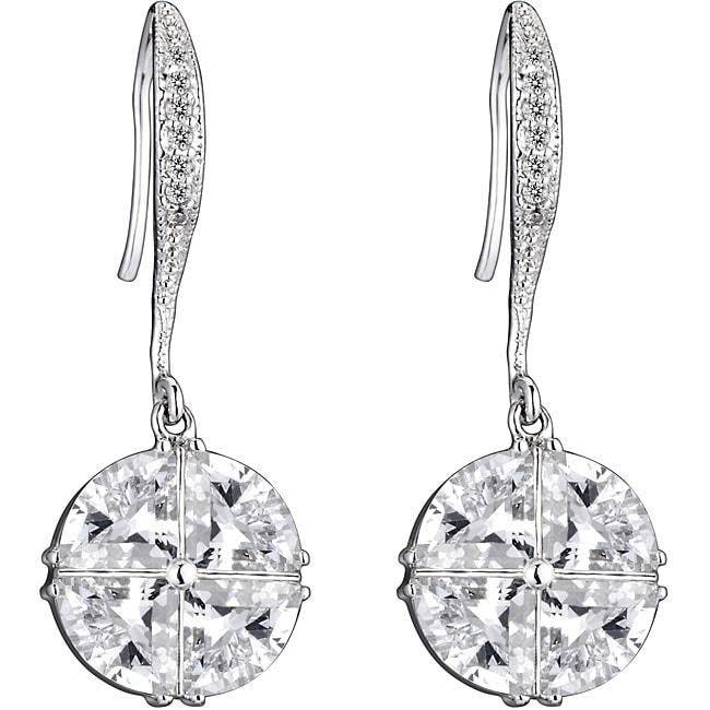 Collette Z Sterling Silver Cubic Zirconia Criss-cross Dangle Earrings