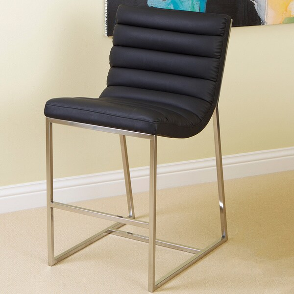 Christopher Knight Home Parisian Black Leather Barstool