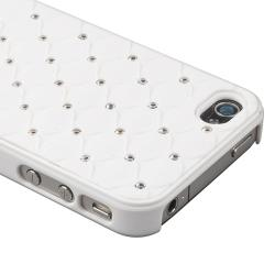 White Diamond Gem Rear Snap-on Case for Apple iPhone 4/ 4S