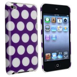 Purple/ White Dot Rubber Coated Case for Apple iPod Touch Generation 4