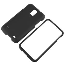 Black Snap-on Rubber Coated Case for Samsung Skyrocket i727